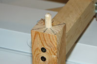 Dowel pin on the grow light stand leg